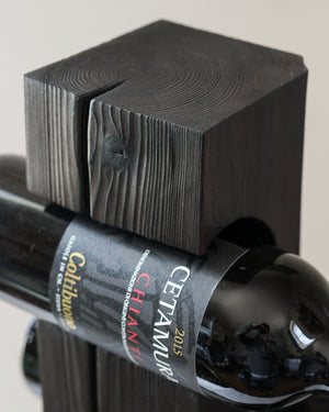 Shou-Sugi-Ban Tabletop Wine Rack, Charred Cedar with Welded Steel Base