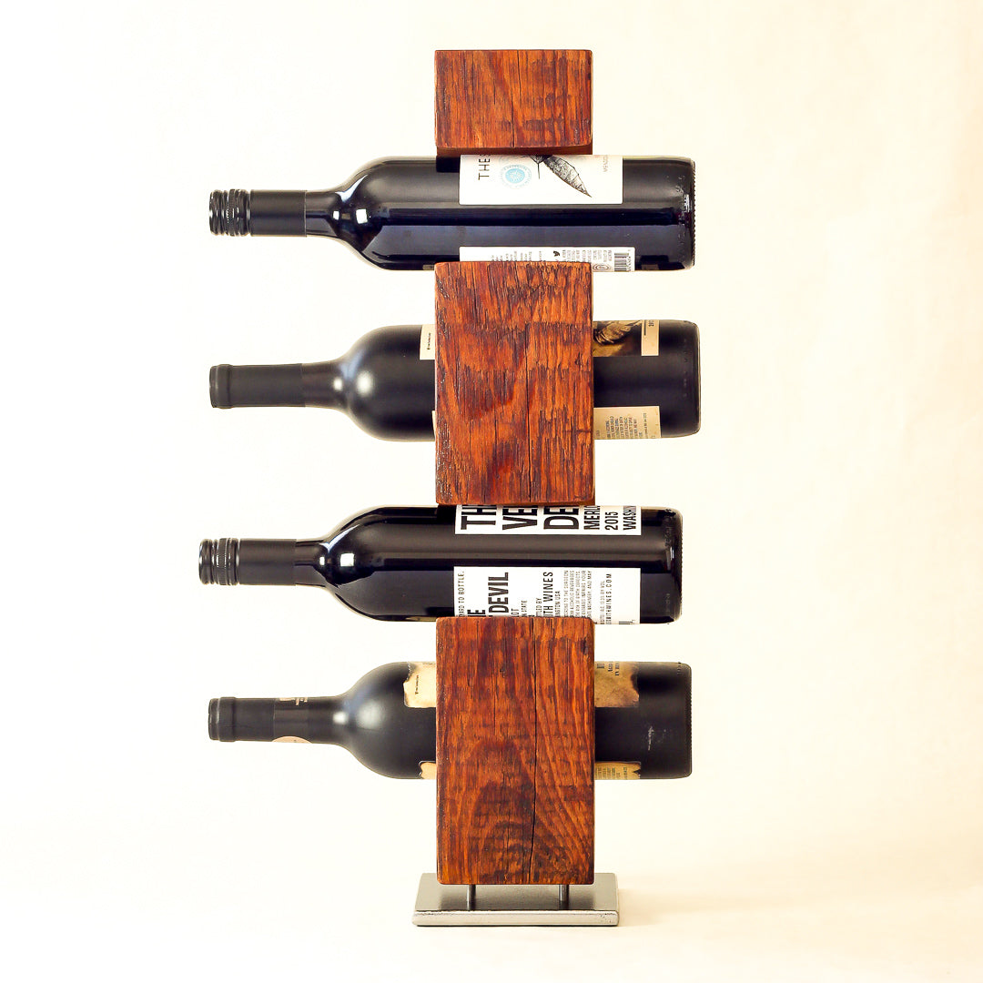 Custom-Made Wine Rack from Reclaimed Mid-1800s Vermont Barn Wood (#1002)