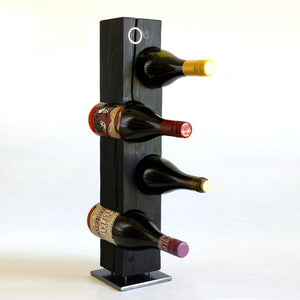Custom Shou-Sugi-Ban (Charred Cedar) Wine Rack with Metal Inlay