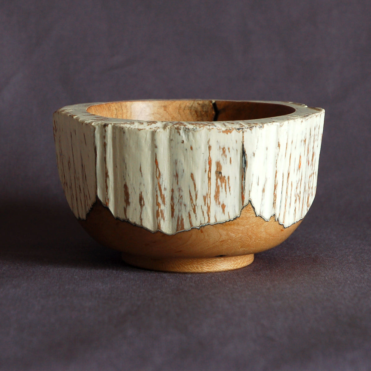 Faceted Wood Bowl with Painted Exterior
