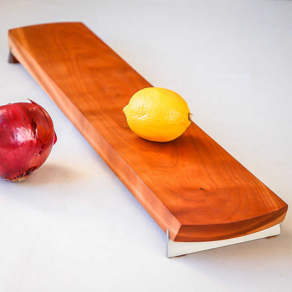 Cherry Baguette/Appetizer Board w/ Stainless Steel Feet