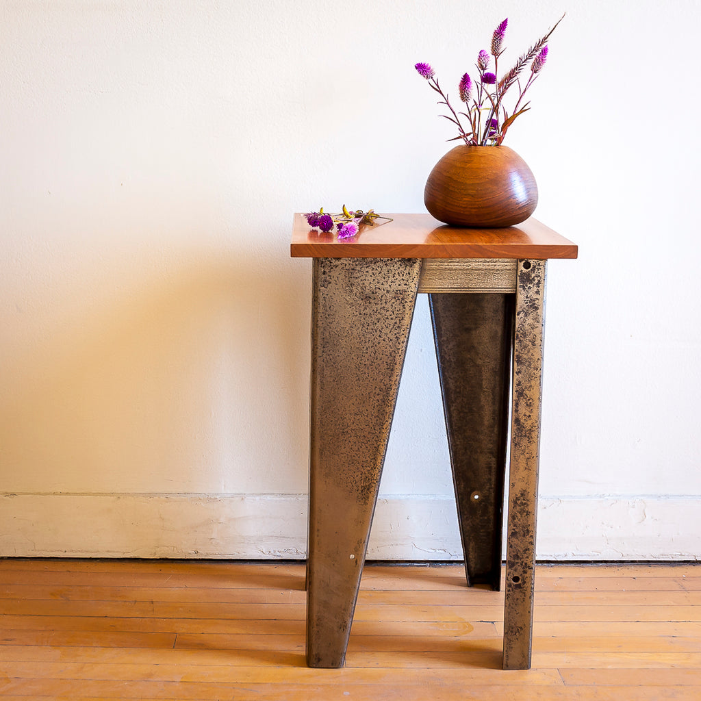 Custom Salvaged Steel & Solid Cherry Wood End Table