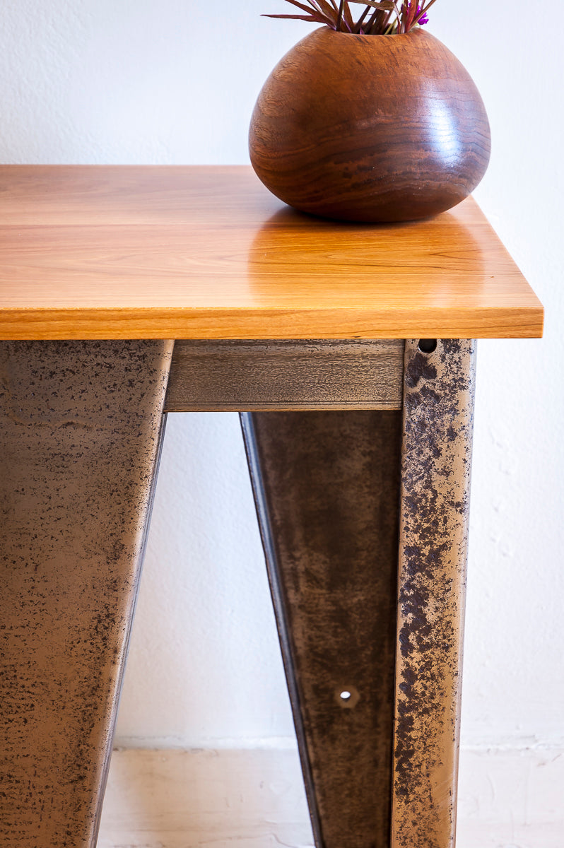Custom Salvaged Steel Solid Cherry Wood End Table Kettler Woodworks