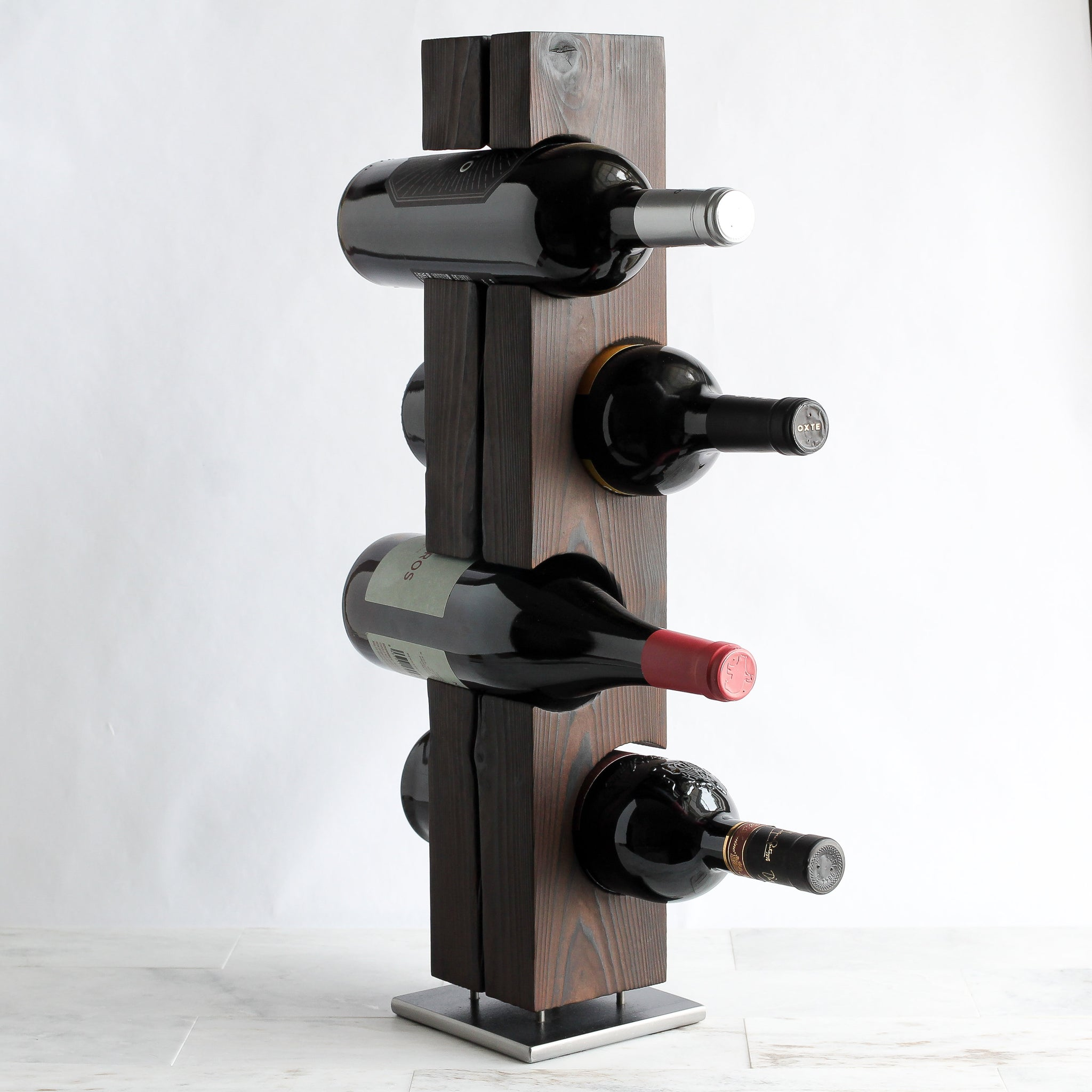 Shou Sugi Ban Tabletop Wine Rack, Charred Cedar with Welded Steel Base