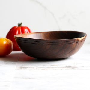 Small Walnut Bowl, Handturned, Grooved Rim