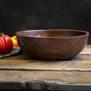Medium Walnut Dough Bowl, Handturned