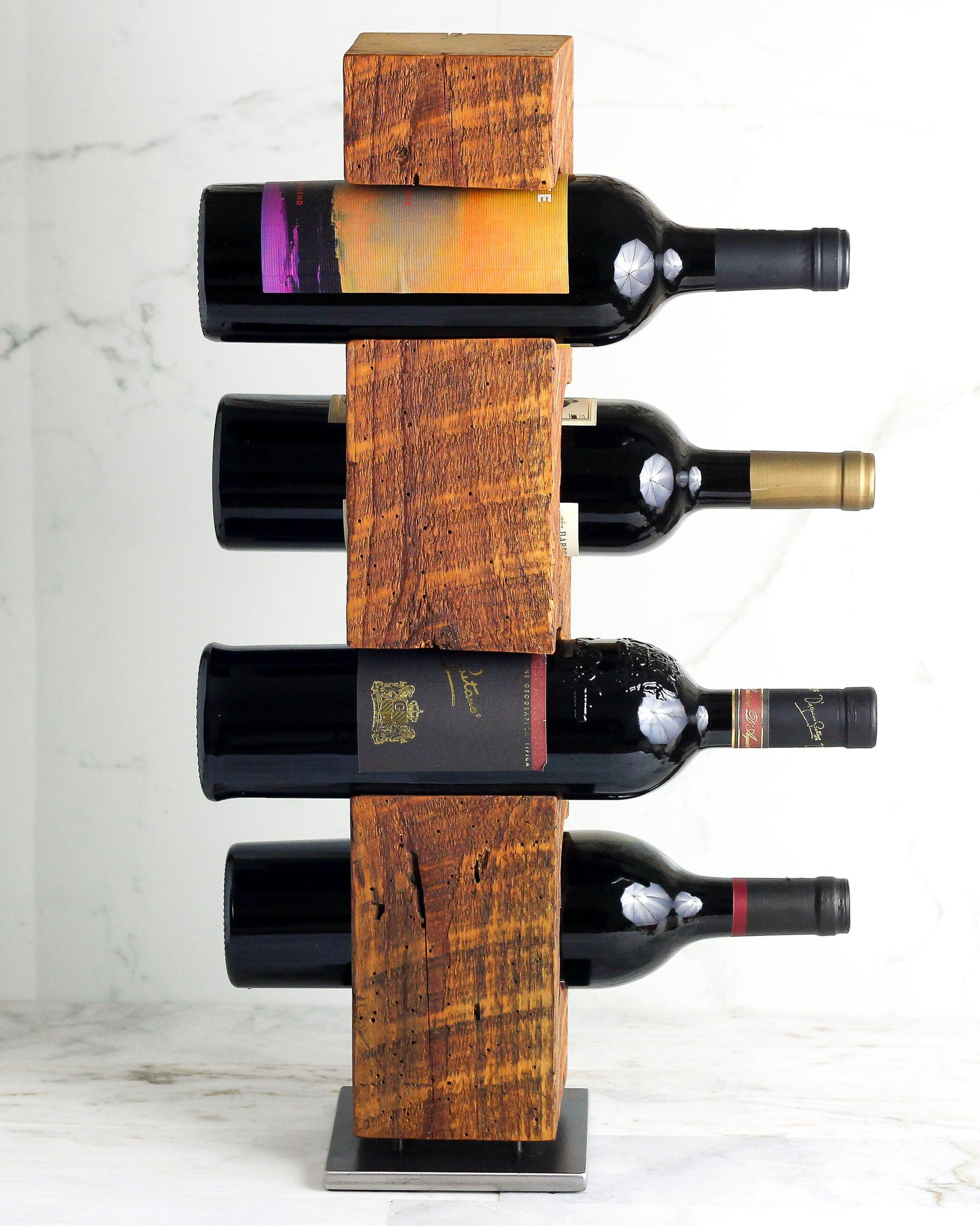 Wine Rack from late-1800s Vermont Barn Wood, Free Standing with Welded Steel Base