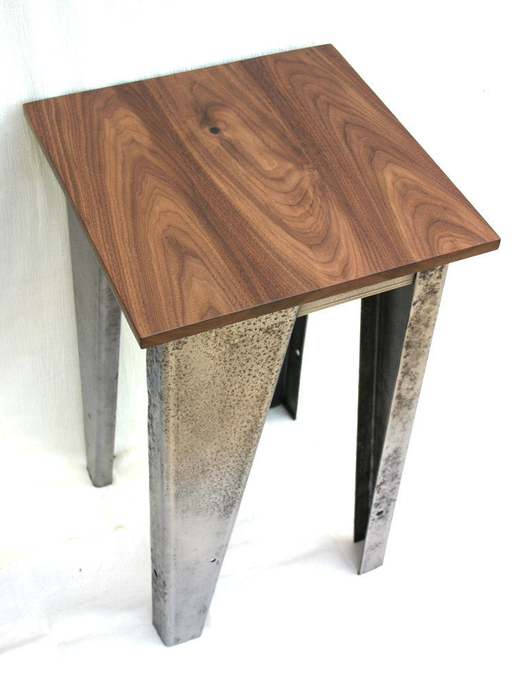Custom Salvaged Steel & Solid Walnut Wood End Table
