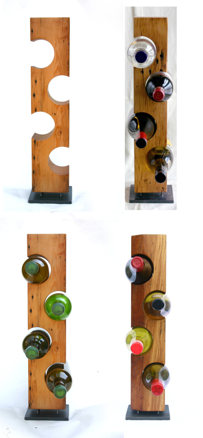 "Custom Wine Rack, Reclaimed 1800-1900 Barn Wood, Made-To-Order, ""Smooth""/""Light"" Wood"