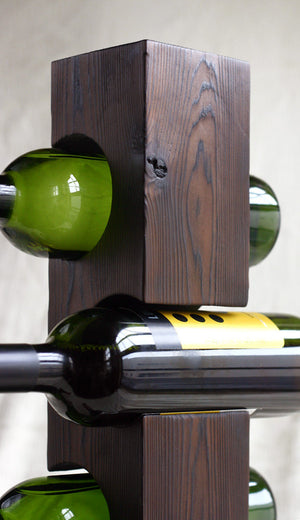 Custom Shou-Sugi-Ban (Charred Cedar) Wine Rack