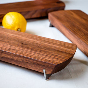 Small Walnut Cheese/Serving Board w/ Stainless Steel Feet