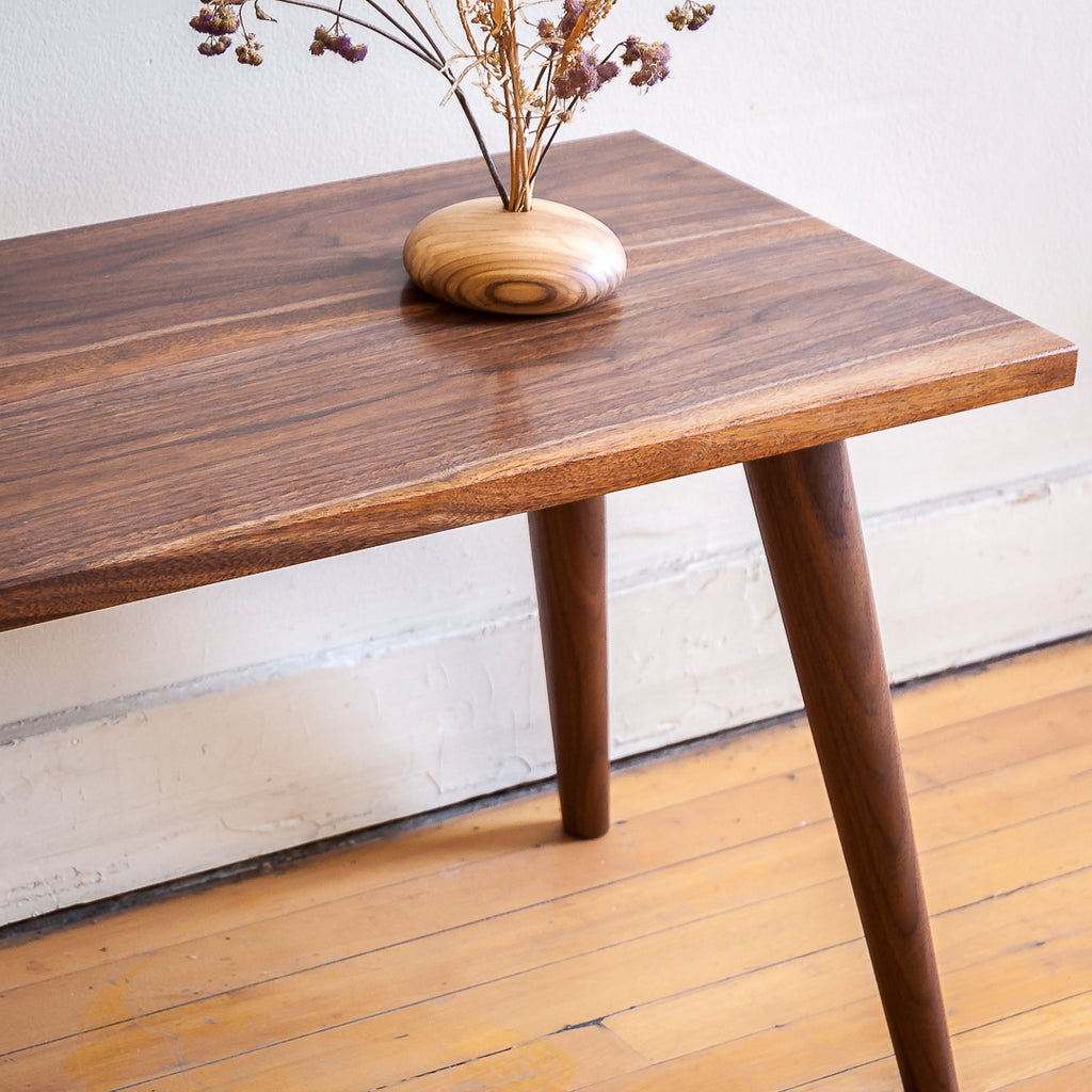Modern Walnut Coffee Table with Hand-Turned Legs