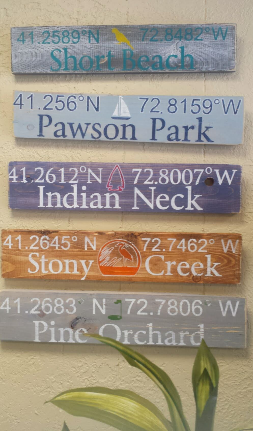 "Hand-painted ""Nautical Coordinates"" Signs"