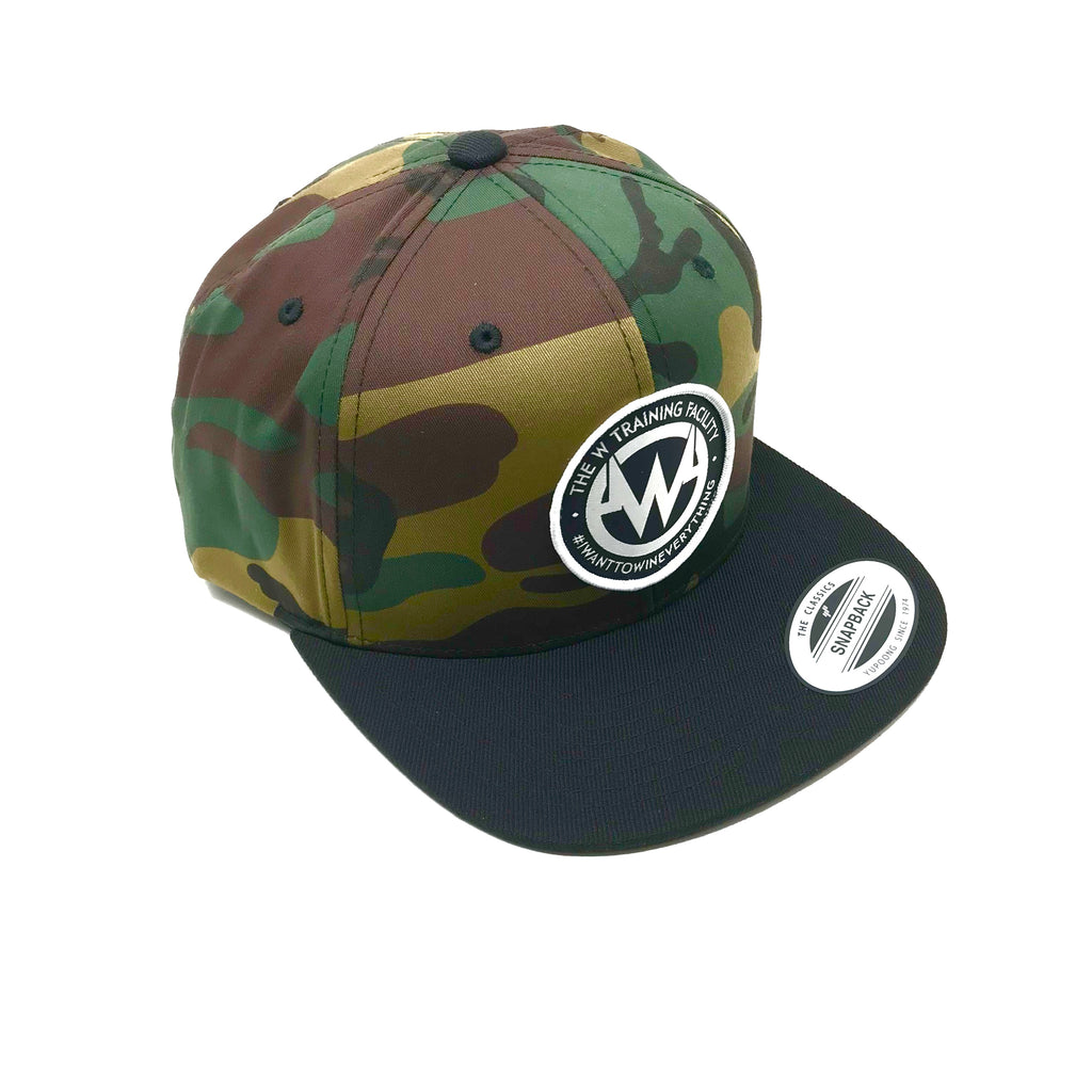 """The W"" Camo Snapback Flatbill Hat"