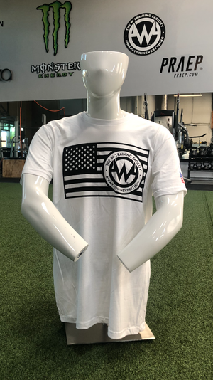 "Mens: FLAG ""The W"" Short Sleeved T-Shirt: Color White"