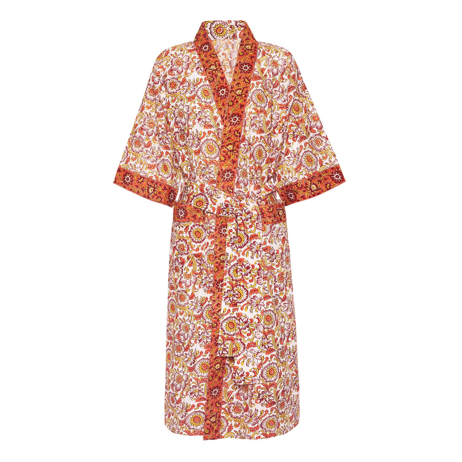 Ladies Dressing Gown - Red and Orange Floral – Indian Ocean Cotton