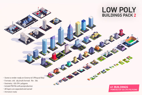 Low Poly Buildings City Pack 2