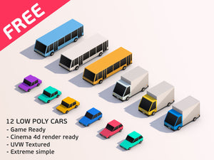 Cartoon Low Poly 3D City Cars Models
