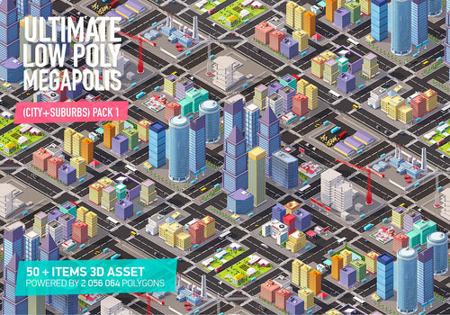 Low Poly Megapolis City Pack 1