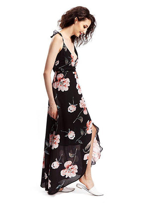 Floral Printed Wrap Style Maxi Dress with Ruffle Cap Sleeve