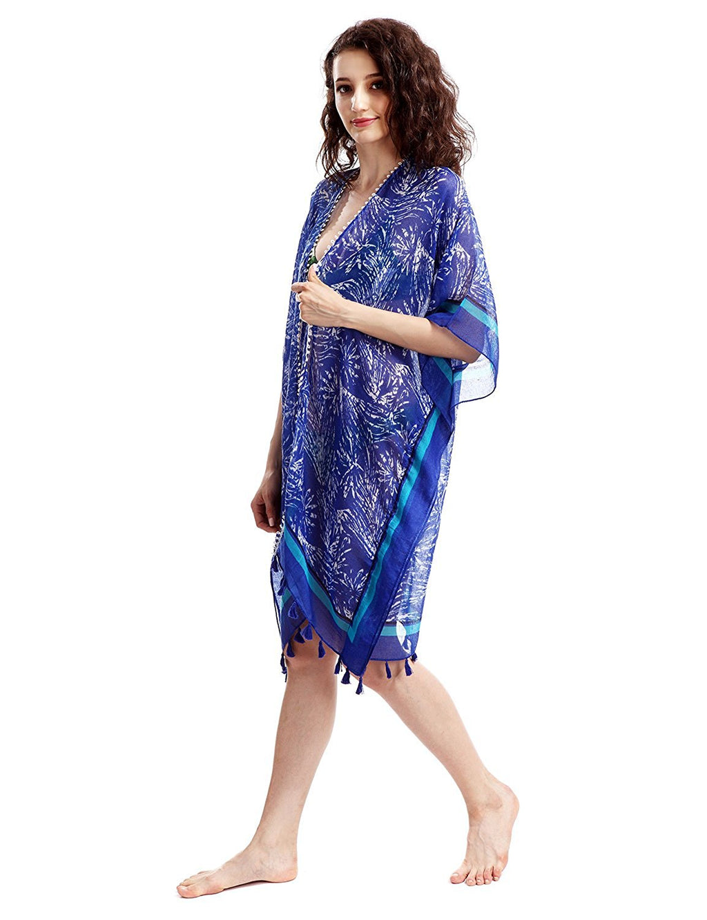 Long Blue Abstract Patterned Lightweight Kimono Beach Cover Up