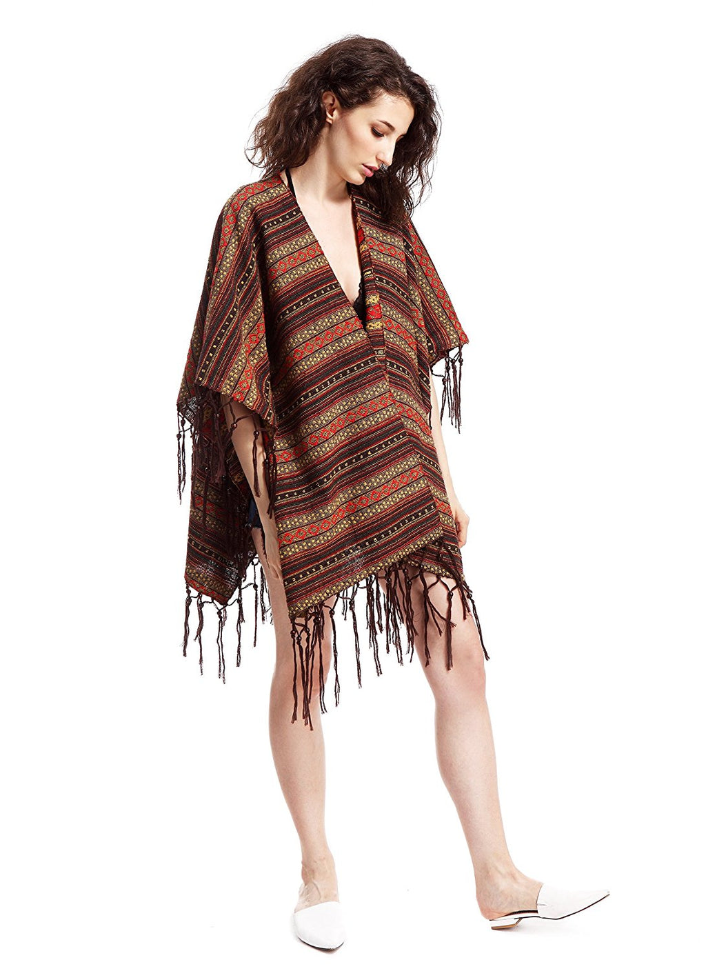 Woven Striped Poncho Cape Cardigan Wrap with Beaded Tassels