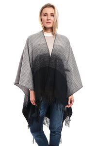 Ombre Knit Open Front Fashion Poncho Cape