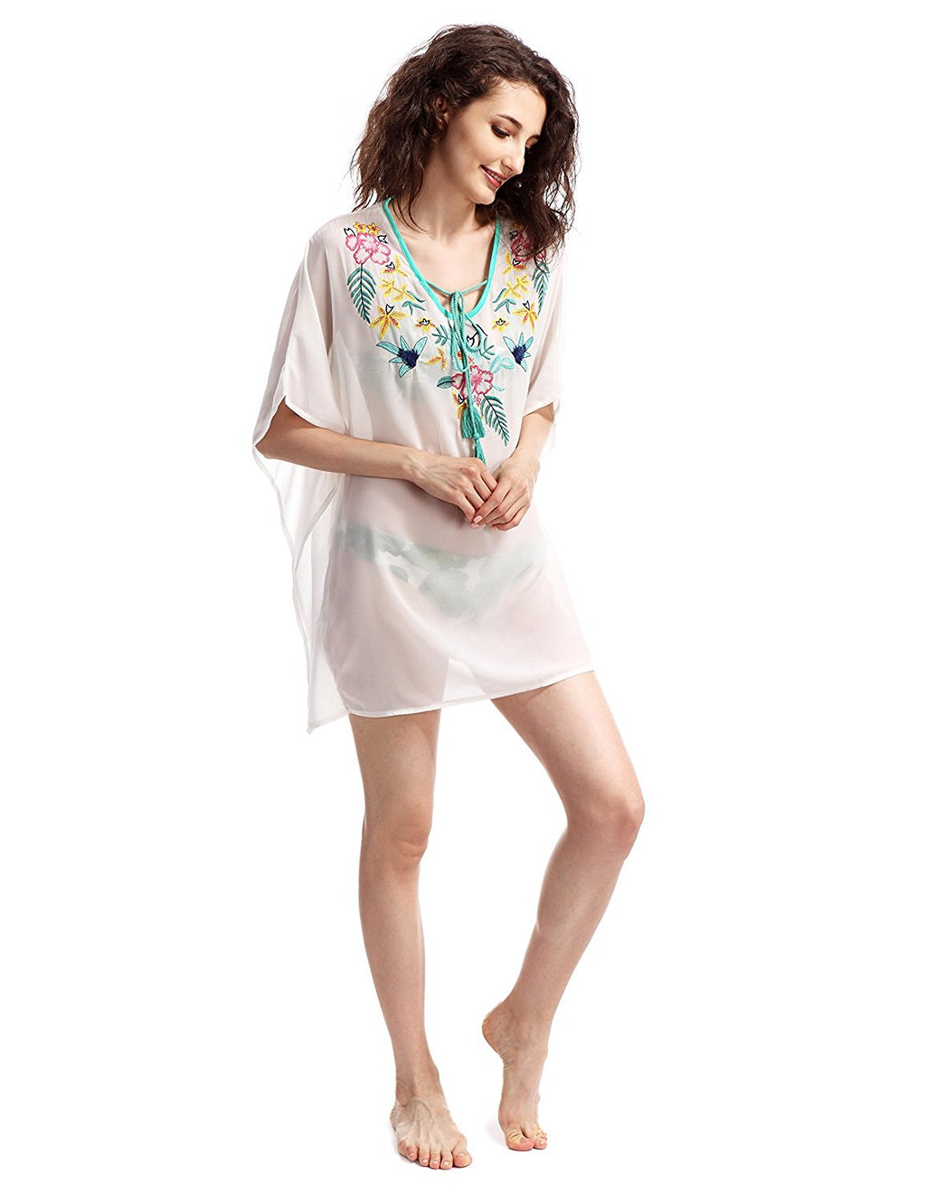 Boho Oversized Embroidered Chiffon T-Shirt Cover Up
