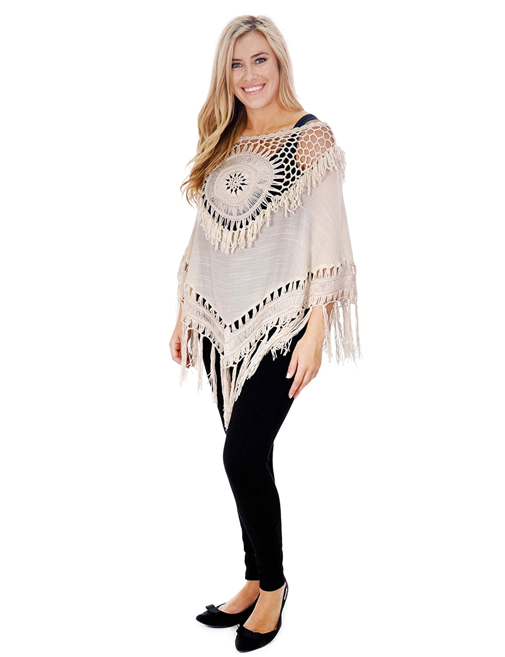 Boho Crochet Dreamcatcher Pullover Tunic Cover Up with Tassels
