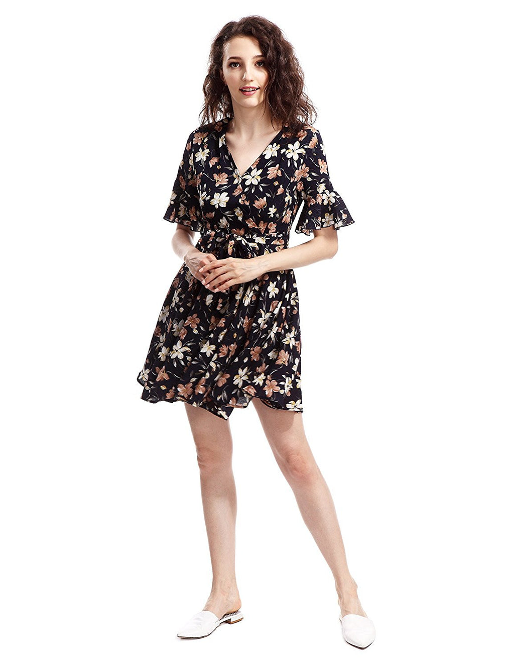 Floral Chiffon Flower Print Flare Sleeve Mini Dress with Belt
