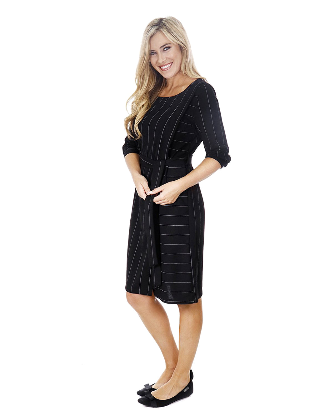 Pinstripe 3/4 Length Sleeve Classic Wrap Dress with Belt
