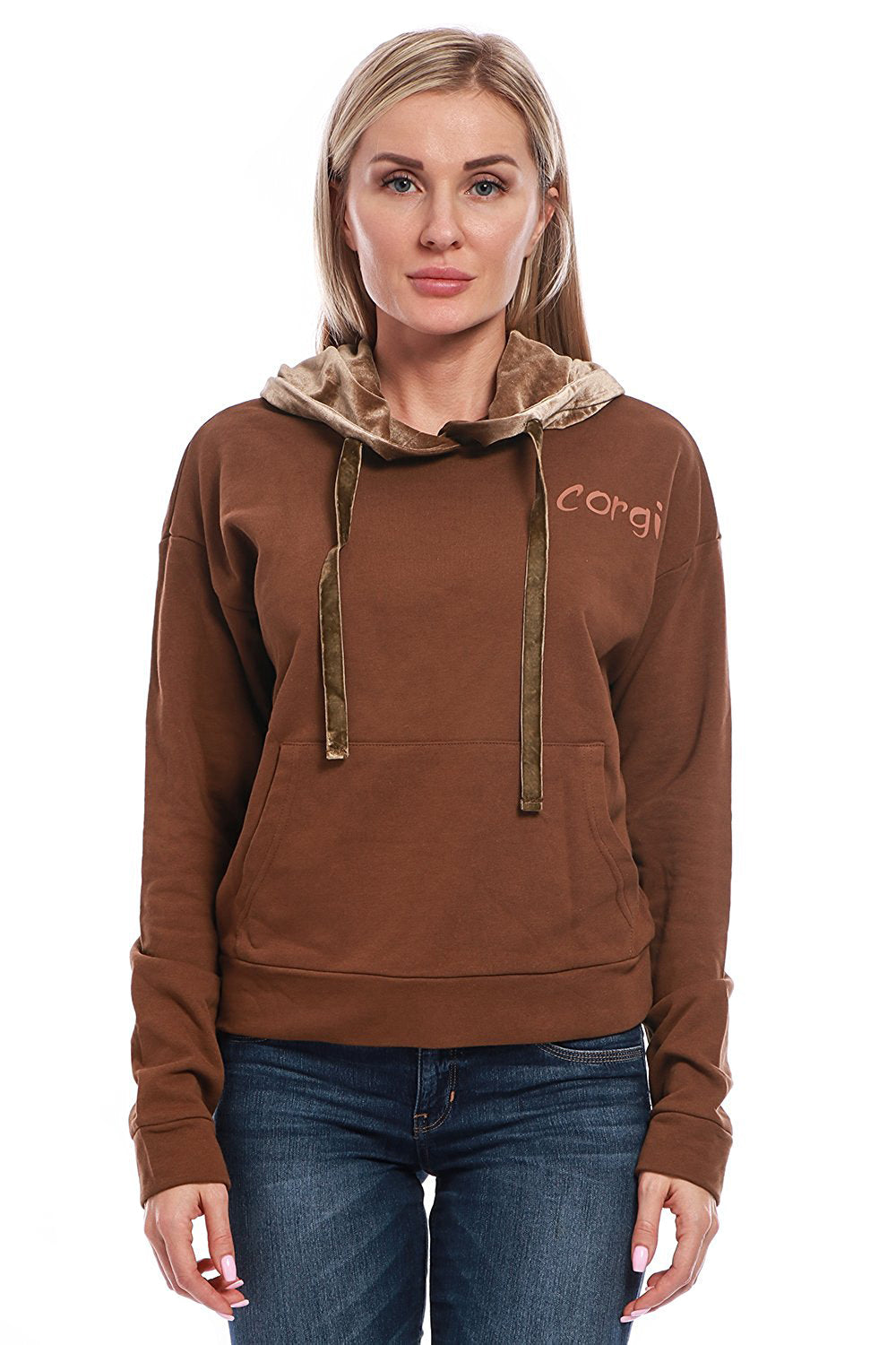 Cotton Hooded Corgi Sweatshirt with Velvet Hood