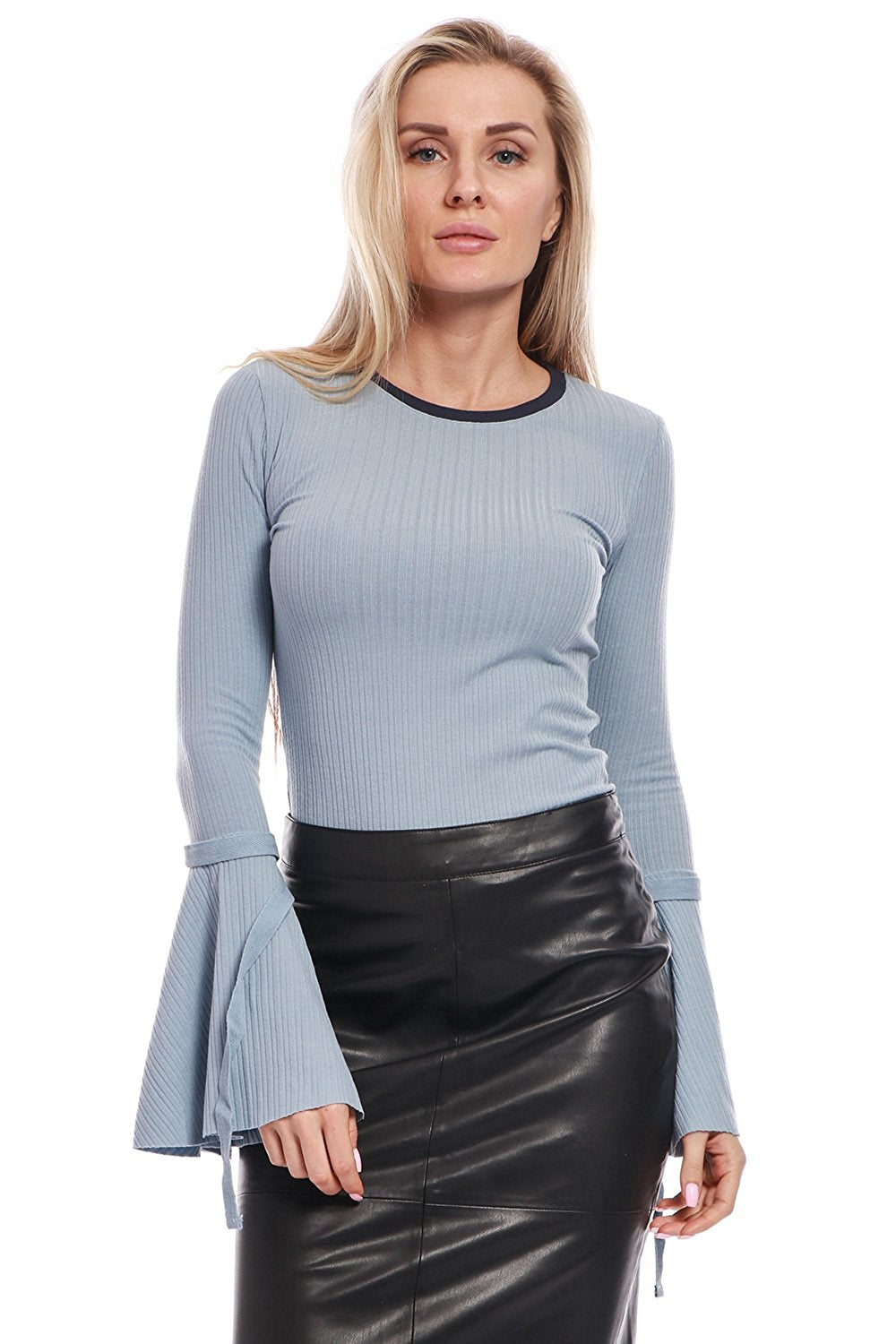 Rib-Knit Top with Long Bell Sleeves