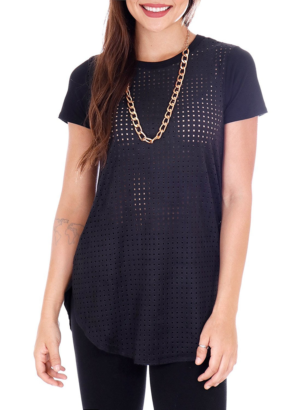 Laser Cut Faux Suede Short Sleeve T-Shirt with Rose Gold Chain Necklace (Black)