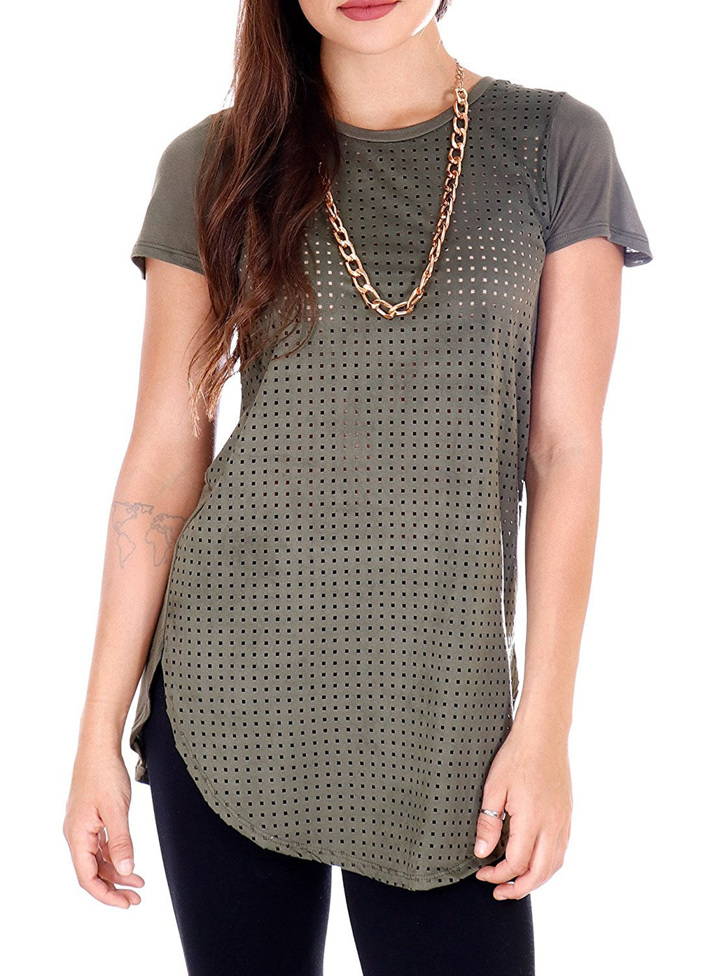 Laser Cut Faux Suede Short Sleeve T-Shirt with Rose Gold Chain Necklace (Olive Green)