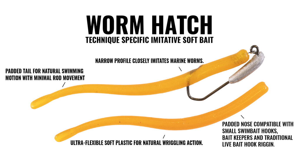 Hogy Worm Hatch Soft Bait - Cinder Worm Palolo Worm Ribbon Worm