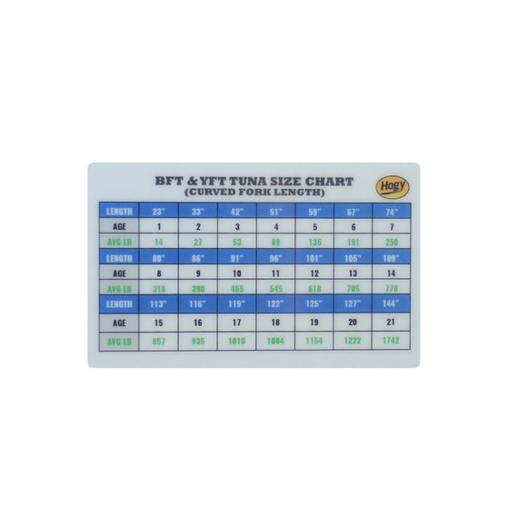 Tuna + Offshore Crimp Size Chart Card