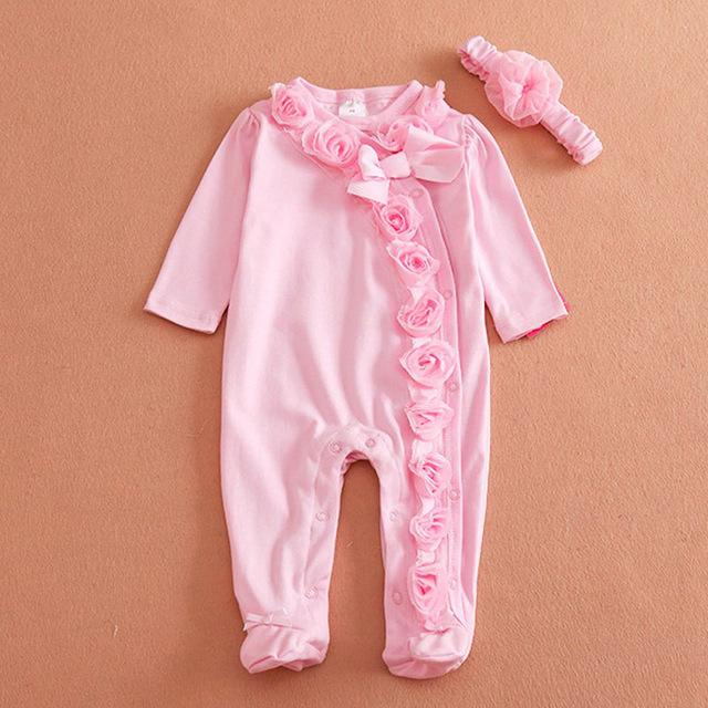 Pink Rose Romper with Headband
