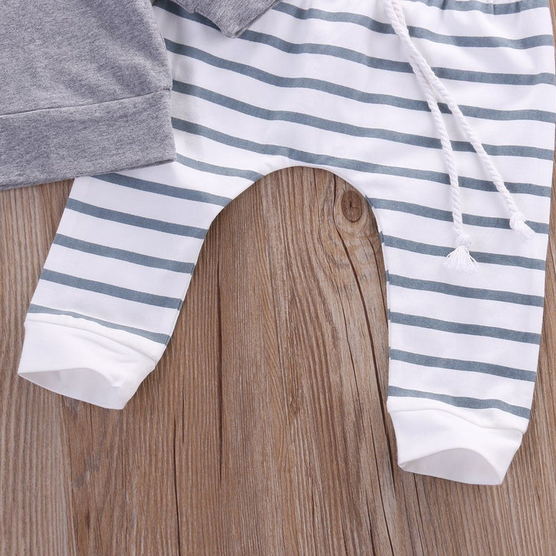 Gray Stripes Top & Bottom