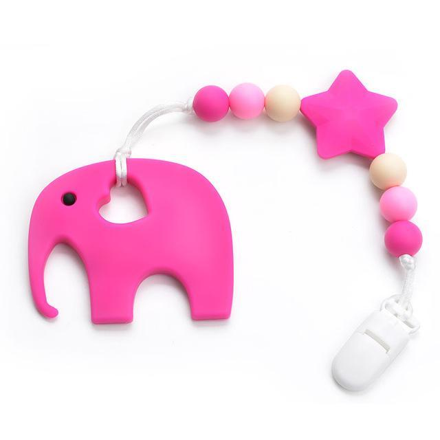 Silicone Elephant Pacificer Clip and Teether