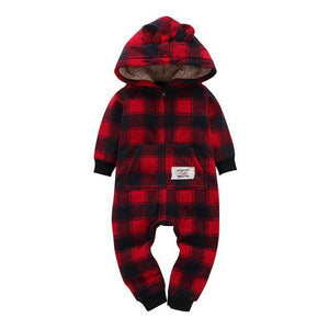 Red Flannel Hooded Romper