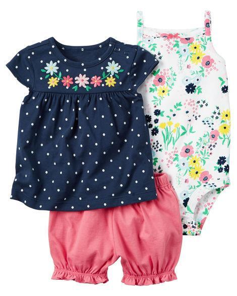 Flowers & Polkadots Set/3pc