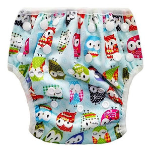Unisex Swimwear Diaper Trunks - Cartoon Owl Print