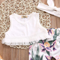 Tassel Tops and Floral Bottoms Set - 3 Pieces