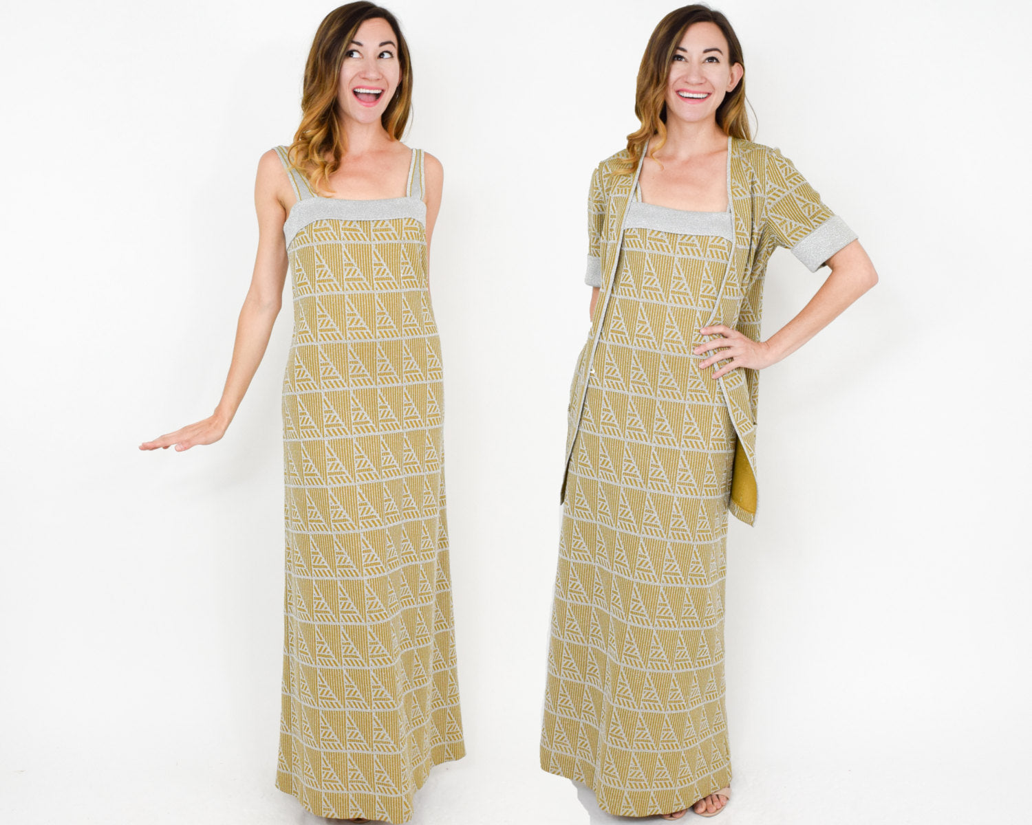 70s Gold Tiki Knit Maxi Dress and Jacket | Leicester England ...