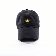 """King/Queen"" Crown Dad Hat - Black w/ Gold"