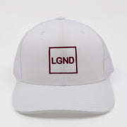 "Mesh ""LGND"" Hat - White w/ Wine"