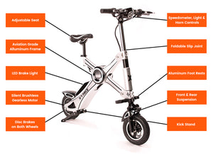 X1 Explorer - Portable Folding Electric Bike With Alarm - 37 Mile Range 19 MPH (Tesla Power Cell)