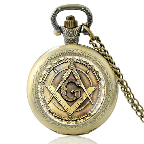 Quartz Pocket Watch with Glass Dome - Freemasonry Masonic Square & Compasses Design with Neck Chain
