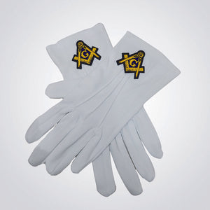 Freemasons Hand Embroidered White Gloves - Square & Compasses Design